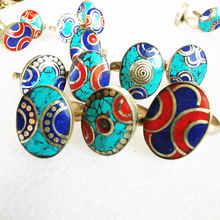 Anillo ovalado de Metal para mujer, joyería de mano, nepalí, incrustaciones de cobre, piedra colorida, anillos de fiesta R188