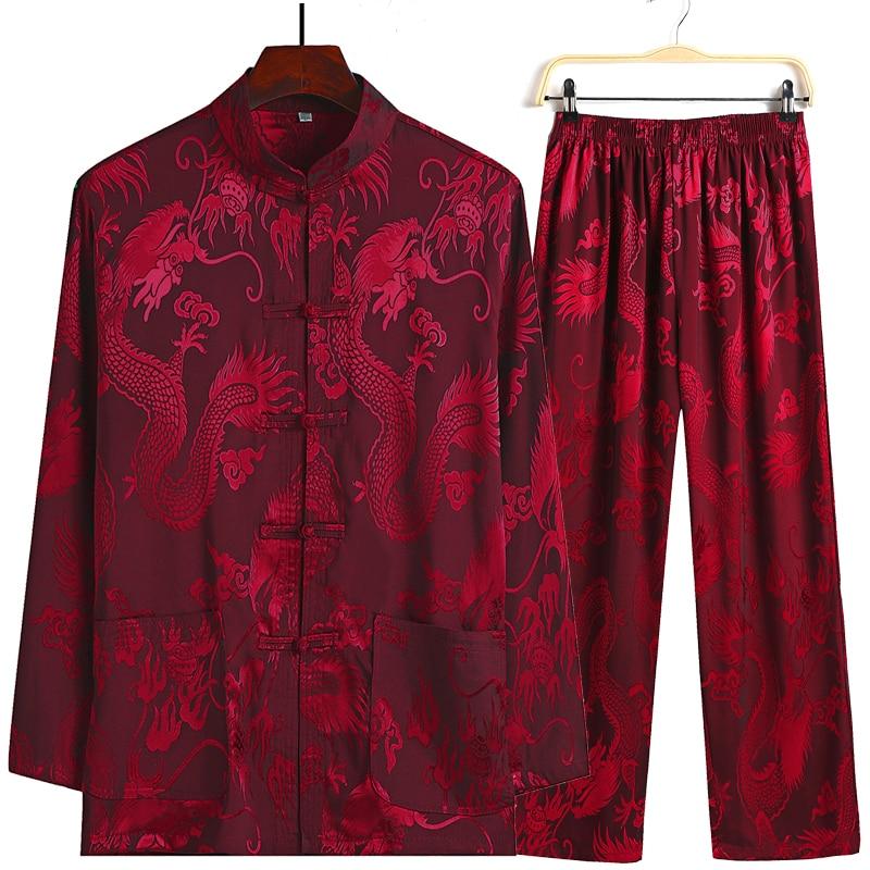 Plus Size 4XL New Chinese Style Men's Tang Suit Sets Long Sleeve Long Pants Dragon Kung Fu Suit Satin Silk Wu Shu Tai Chi Sets