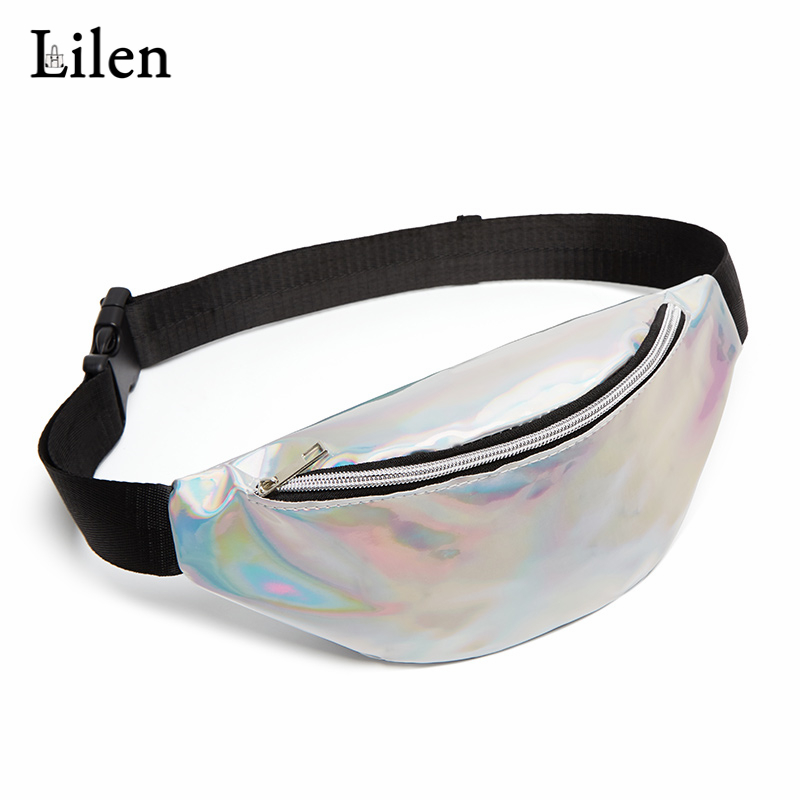 LILEN Holographic Waist Pack Women Shiny Silver Pack Female Belt Bag Waist Bag Travel Shoulder Bag Laser Chest Bag Hip Bum Bag