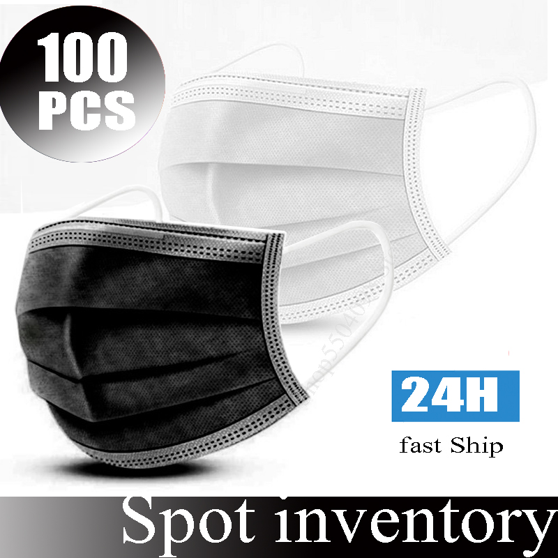 100pcs mask protective masks マスク Disposable 3layer Non-woven Protective Hygiene Face Mouth Masks Anti Dust fog  Windproof Filter