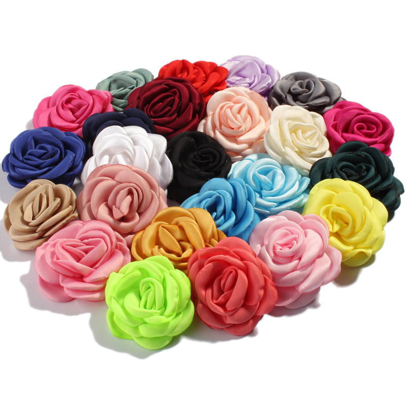 10PCS 6CM Fashion Burning Satin Flowers For Hair Accessories Roast Floral Fabric Flowers For Wedding Bouquet Headbands
