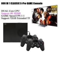 X Pro Video Game Console 4K HDMI Output Built in 800 Games Arcade Retro Classic 64 Bit Handheld 2PCS Joystick 4GB RAM Gift