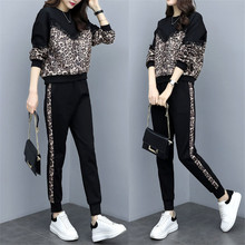 Hot Sales 2 Piece Set Women Tracksuits 2019 Plus Size leopord top + Pants Casual Sporting Suits