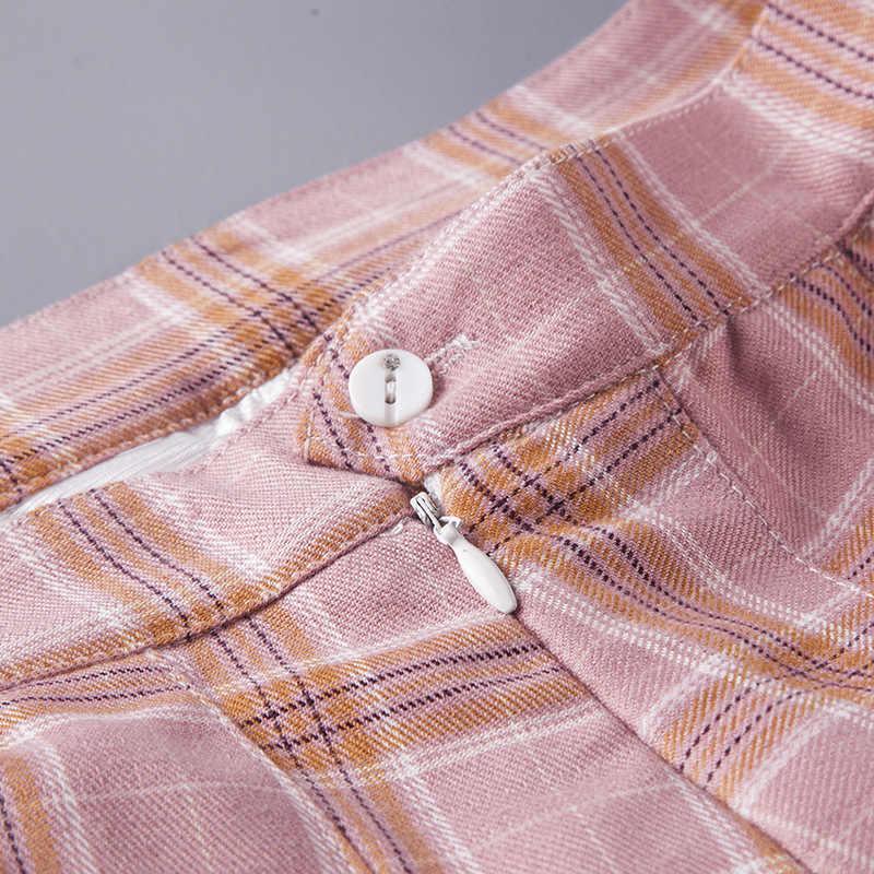 女性プリーツスカート原宿プレッピースタイルのチェック柄スカートミニかわいい日本の学校の制服女性ペチコートかわいいスカートサイア段faldas