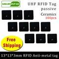 UHF RFID Метка 915 м 868 м Alien H3 EPC ISO18000 6c 100 шт. Бесплатная доставка 13*13*3 мм запасные части керамика пассивные RFID метки
