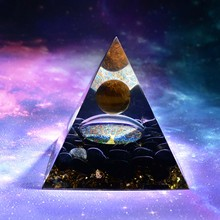 HANDMADE Tiger Eye Crystal Sphere & Obsidian Quartz Orgone Pyramid 60MM Reiki Energy Healing Chakra Meditation