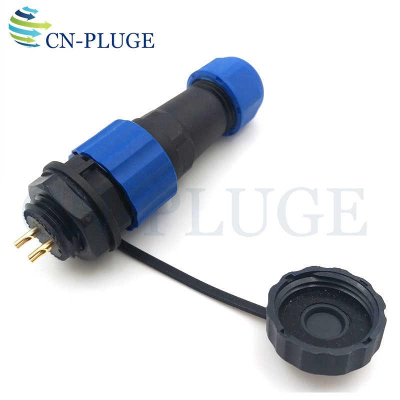 SP16 2 פינים עמיד למים מחבר זכר תקע, תעופה רכב חוט שקע LED כוח פנל הר מחבר IP68