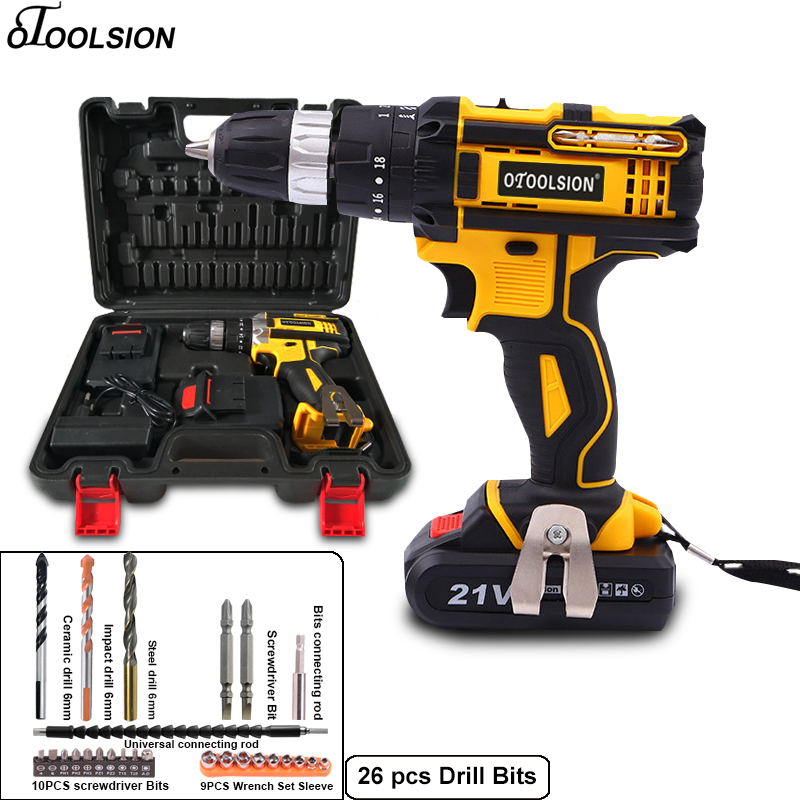 21V New Impact Cordless Screwdriver Battery Screwdriver Sets Electric Drill Rechargeable Drill Electric Tools For Metal Working