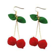 2019 Top Fashion New Tin Alloy Pendientes Earings Aretes Europe And The Christmas Ornaments Lovely Cherry Long Earrings