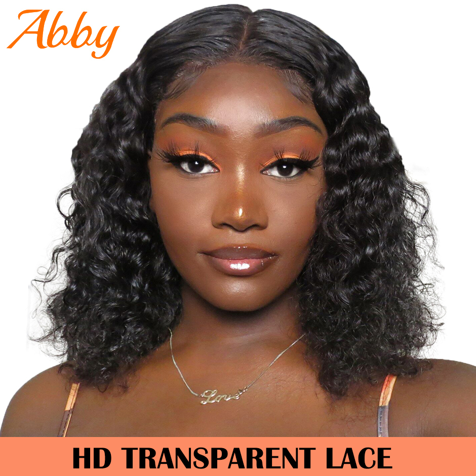 ABBY HAIR Bob Wig Peruvian Water Wave HD Transparent Lace Wigs 13x6 Lace Frontal Human Hair Wigs 150% Density Bob Wig
