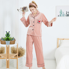New velvet ladies pajamas new autumn and winter long-sleeved two-piece suit sleepwear loungewear