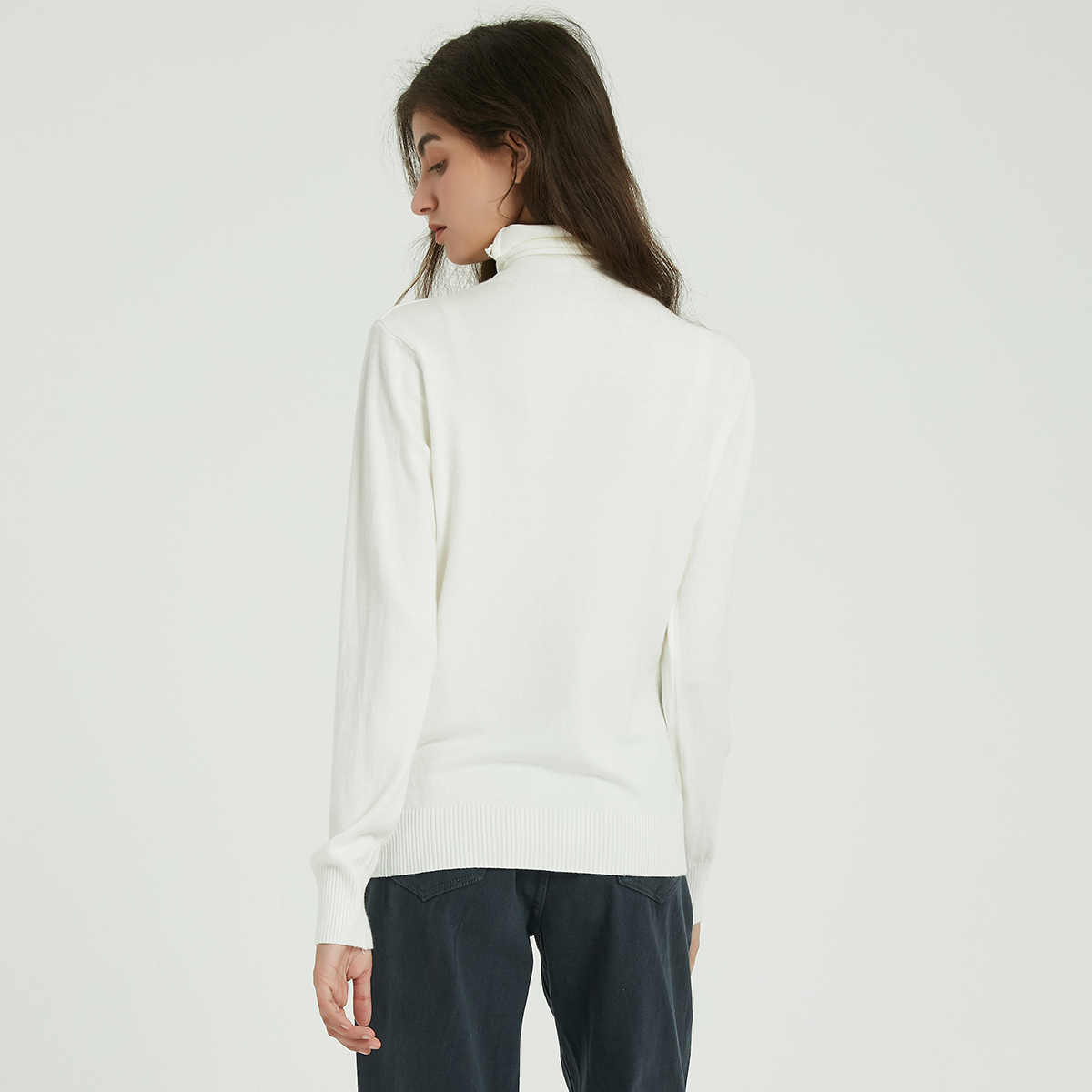 Wixra mujeres suave sólido tejido suéteres señoras de manga larga Casual cuello alto suéter básico Pullovers otoño primavera clásico tapas