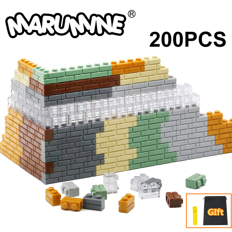 MARUMINE 1x2 Dots Cube Bricks 98283 Houses Wall Building Blocks Classic DIY MOC My City Set Learning Educational Toy for Kids(China)