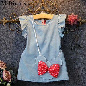 2020 Hot Sale Real Straight Bow Nylon Baby Toddlers Kids Girl Solid Dress Minnie Mouse Sleeveless Bag Demin Casual Dresses 1-5y
