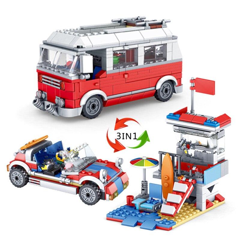 374Pcs Cidade Acampamento RV Viagem Passeio de Carro Criador LegoINGLs Natal Blocos de Construção Define Tijolos Brinquedos Educativos para Crianças