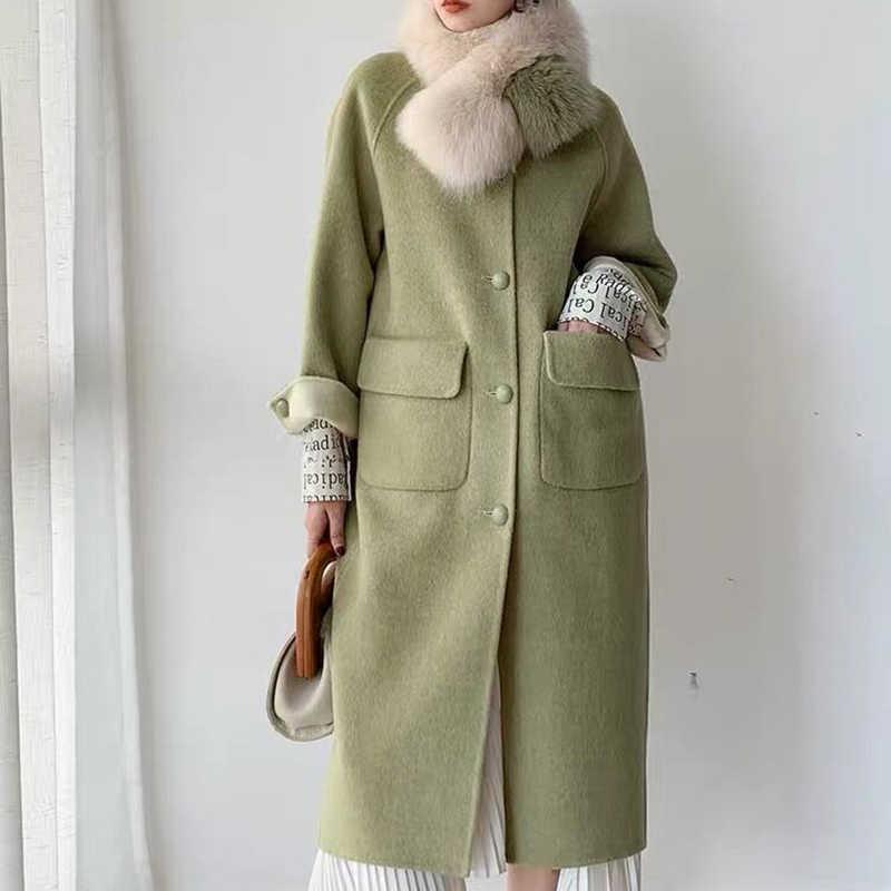 Casaco de lã real feminino com gola de pele de raposa natural 2019 outono e inverno casaco de caxemira plus size roupas de luxo feminino