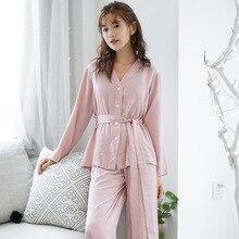 Neue Pyjamas Womens Langen Ärmeln Lose Einfarbig Dünne Pyjama Set Loungewear V ausschnitt Satin Nachtwäsche Viskose Hause Schlaf Set
