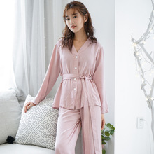 Nouveau pyjama femmes manches longues lâche couleur unie mince pyjama ensemble transat col en v Satin vêtements de nuit Viscose maison sommeil ensemble
