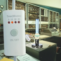 Portalámparas temporizador E27 de 4 pasos con lámpara de mesa germicida UV de cuarzo 15w 25w 36w para eliminar ácaros del polvo