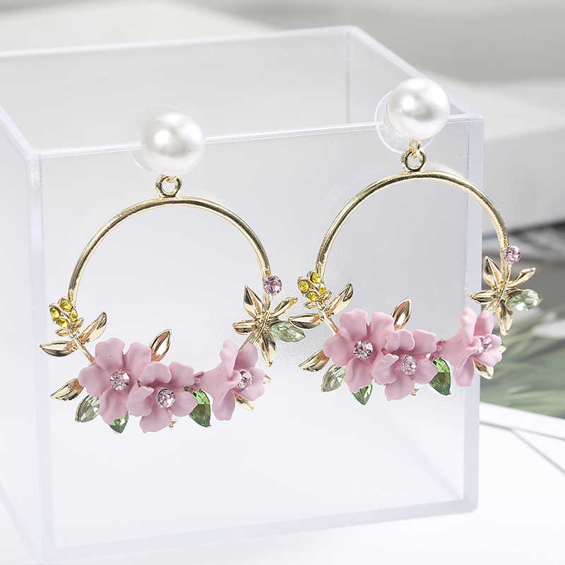 Korea Style Flower Hoop Earrings For Women Gold Color Round Circle  Pink Red Yellow Crystal Earrings Gift For Wedding Jewelry
