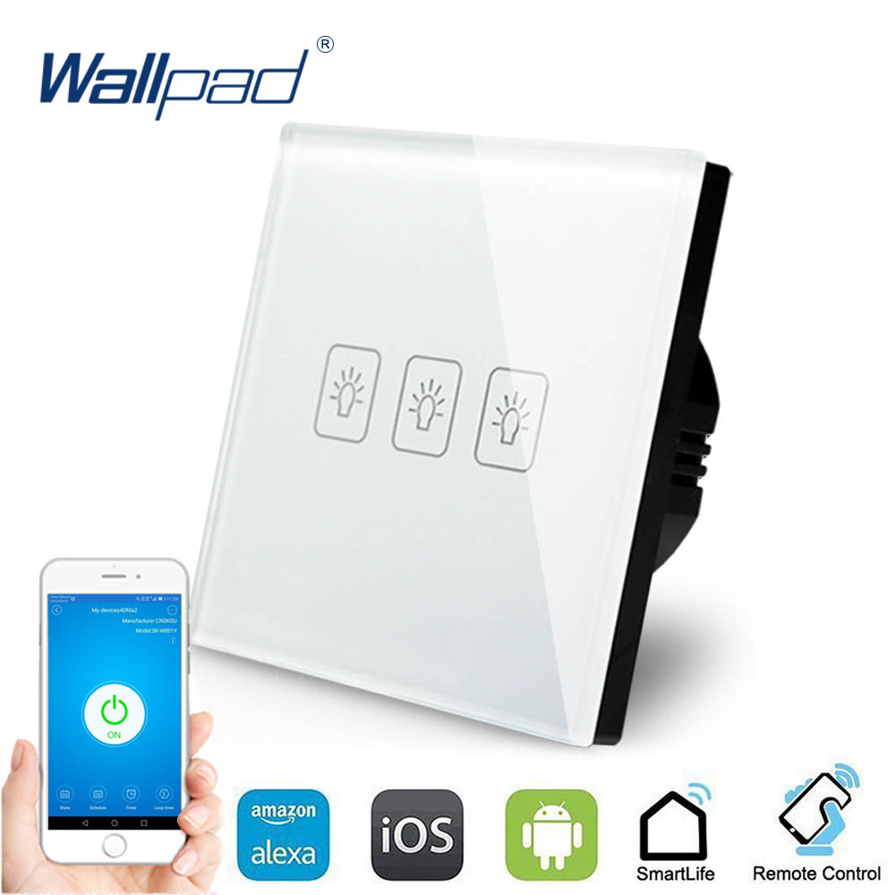3 Gang 1 Way WIFI Control Touch Switch Wallpad EU Wall Switch Crystal Glass Panel Smart