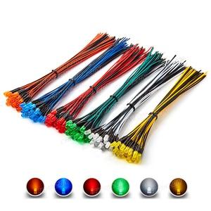 120 pces 5mm prewired diodo led kit luz emitindo difusa 12v branco vermelho verde azul amarelo laranja com fio lâmpada variedade conjunto