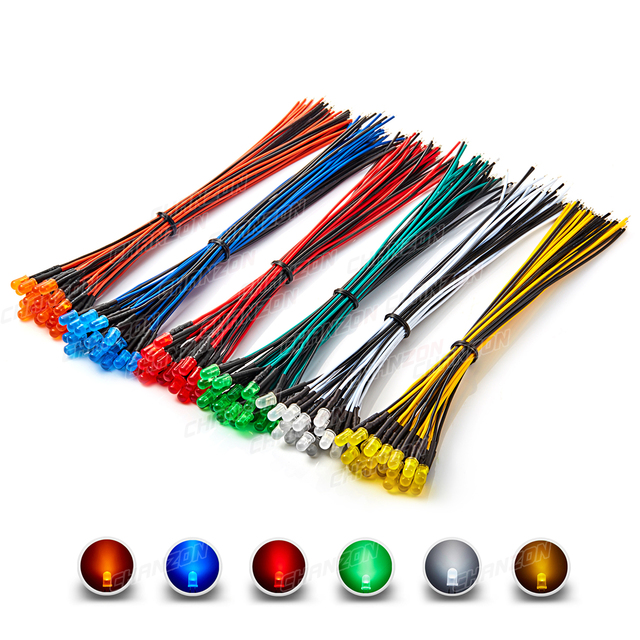 120pcs 5mm Prewired LED Diode Kit Light Emitting Diffused 12V White Red Green Blue Yellow Orange Wired Lamp Bulb Assortment Set