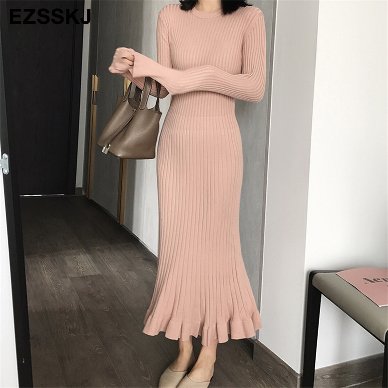 Image 3 - 2019 autumn winter thick mermaid maxi sweater dress women o neck long sweater dress elegant female a line slim sexy knit dress-in Dresses from Women's Clothing