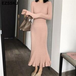 Image 3 - 2020 thu đông dày nàng tiên cá maxi áo len Đầm nữ cổ tròn dài áo len Đầm nữ chữ A sexy chằn