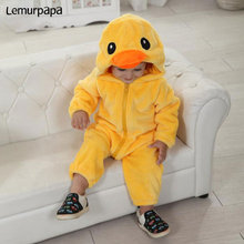 Duck Onesie Baby Zipper Romper Infant Boy Girl Kawaii Cute Costume Winter Warm Soft Kigurumis Toddler Playsuit Kid Animal Outfit