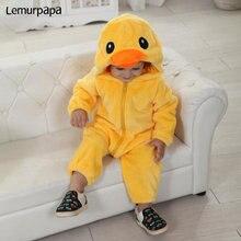 Mono de pato con cremallera para bebé, pelele Kawaii para niño y niña, Bonito traje de invierno cálido suave, Mono para niño pequeño, traje de animales