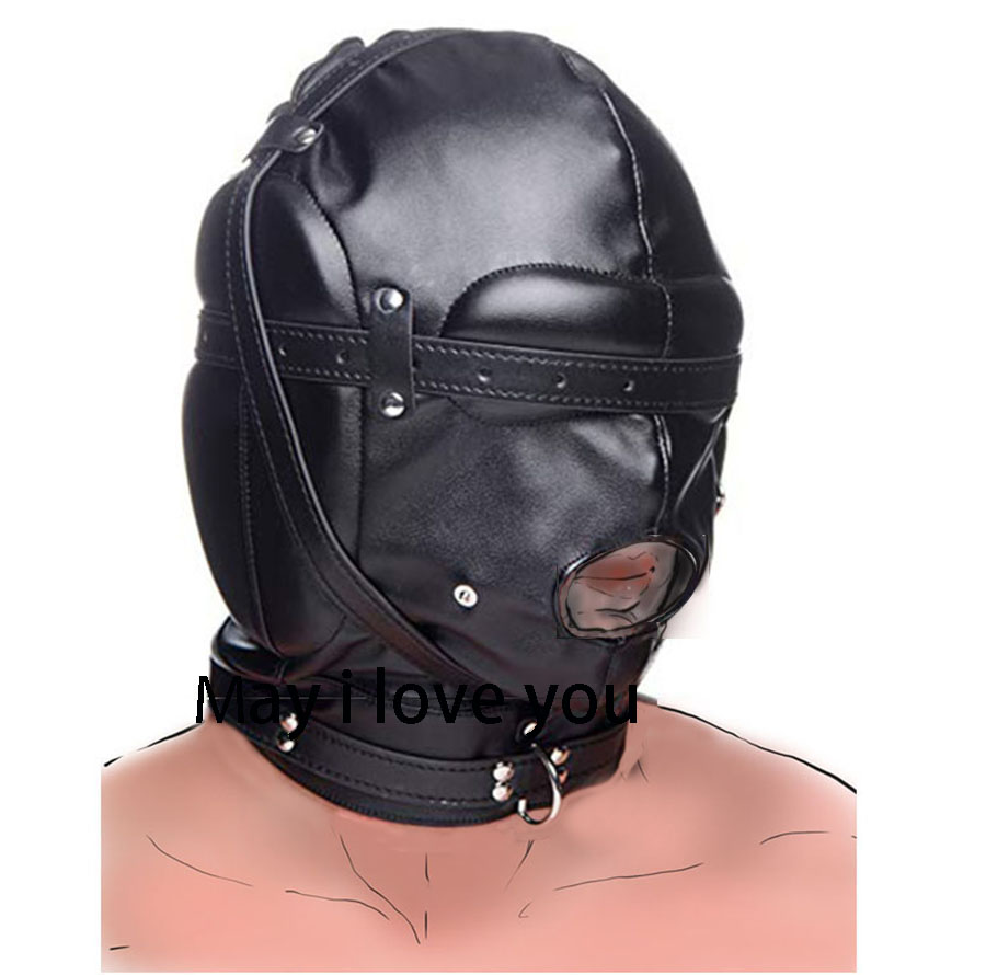 Leather Headgear With Mouth Ball Gag .BDSM Bondage Mask ,Blackout Blindfold Hood, Sex Toys For Couple