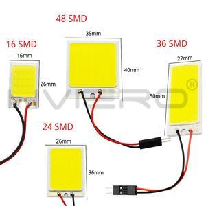 Image 2 - 2x branco 24 36 48smd cob led painel de leitura automática mapa lâmpada painel luz cúpula festoon ba9s 3 adaptador dc 12v auto led cob luzes led