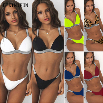 цена на 2020 New Sexy Solid Color Swimsuit Silver Strap Swimwear Leopard Print Beachwear S-L Girl Triangle Bralette Bikini Set