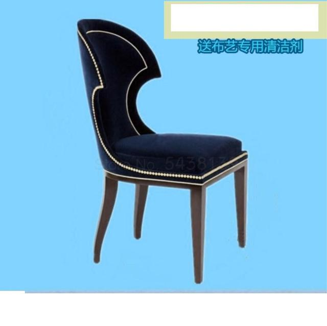 Nordic solid wood nail chair fabric dark blue dining chair American neo-classical personality creative single chair 5