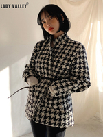 Little Fragrant Retro Houndstooth Stand Collar Thickened Fur Liner Tweed Jacket Ladies Winter Bandage Waist Fashion Warm Tops