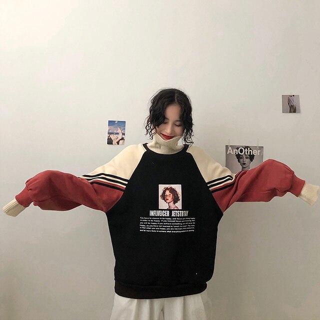 2020 Hoodie Sweatshirt Women Winter Oversize Tops Fashion Pattern Printed Sweatshirt Autumn Turtleneck Outerwear Warm Pullover 2