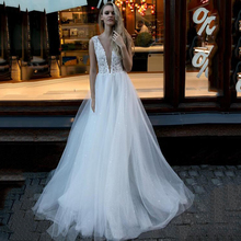 A-line Glitter Wedding Dresses v neck Party Bridal Tulle Lace Appliques Beach shiny Gown Custom Made gelinlik