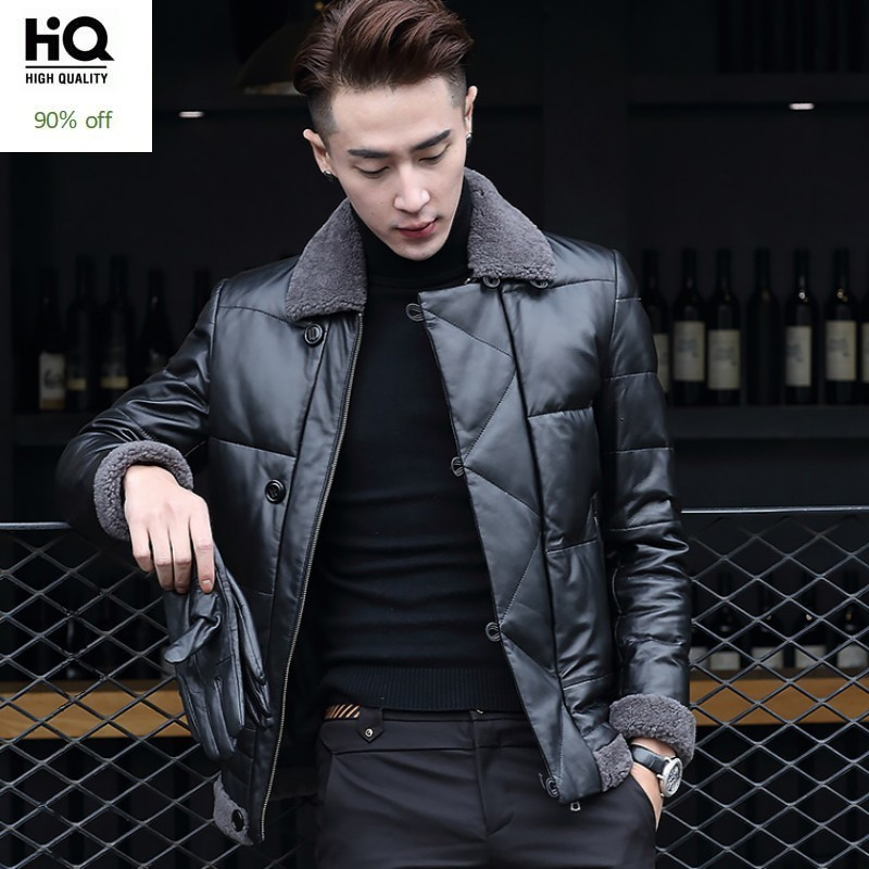 Top Brand Motorcycle Biker Wool Collar Mens Down Jacket Slim Fit Genuine Leather Winter Warm Parka Business Man Outwear Coats