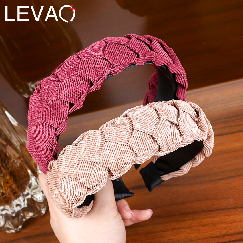 LEVAO New Corduroy Hair Bezel Wide  Fabric Headband Headdress Women New Simple Twisted Braid With Side Knotted Hoops For Girls
