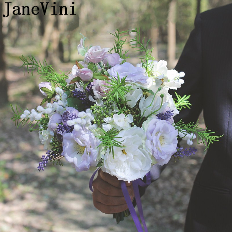JaneVini Lavender Wedding Bouquet Purple Bride Silk Protea Artificial White Flower Wedding Flowers Bridal Bouquets Brooches 2020