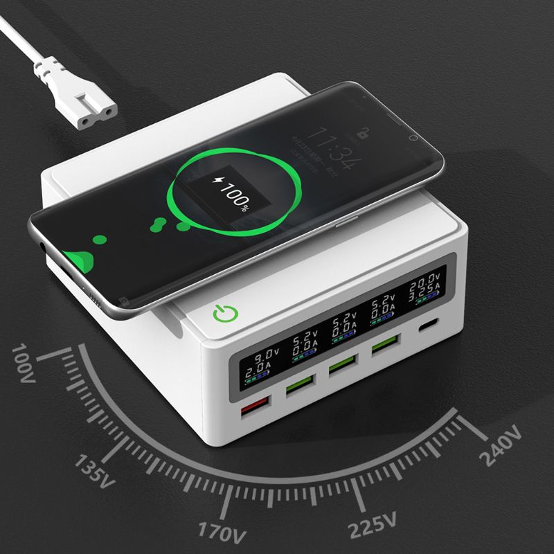 5-Port QC3.0 USB Type C PD 65W Power Adapter Qi Wireless Charger Cellphone Fast Charger Station For Laptop Mobile Phone Tablet