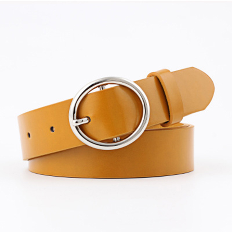 Faux Leather Round Buckle Wild Belts Women Candy Colors Casual Korean Simple Ladies Belts Fashion Assessories For Dress Jeans