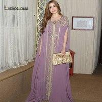Vestidos Moroccan Kaftan Evening Dresses 2020 Embroidery Appliques Caftan Arabic Muslim Evening Dress robe de soiree Party Dress