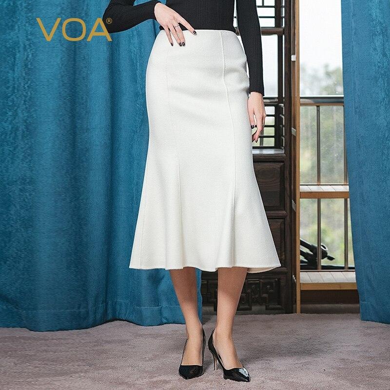VOA Land Of Snow Plateau Double-Sided Cashmere Zipper Natural Waist Mid-length Elegant Warm Step Sheath Fishtail Skirt SC991