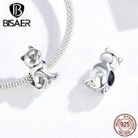 BISAER 100% 925 argent Sterling mignon série animale belle kitty chat pendentifs à breloque ajustement femmes bracelets porte-bonheur bijoux HSC1305