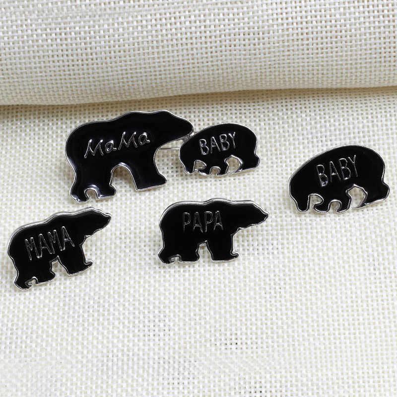 Moda pimleri siyah hayvan PAPA MAMA bebek broş sevimli aile ayılar emaye Pin ceketler yaka rozetleri kadın erkek takı için hediyeler