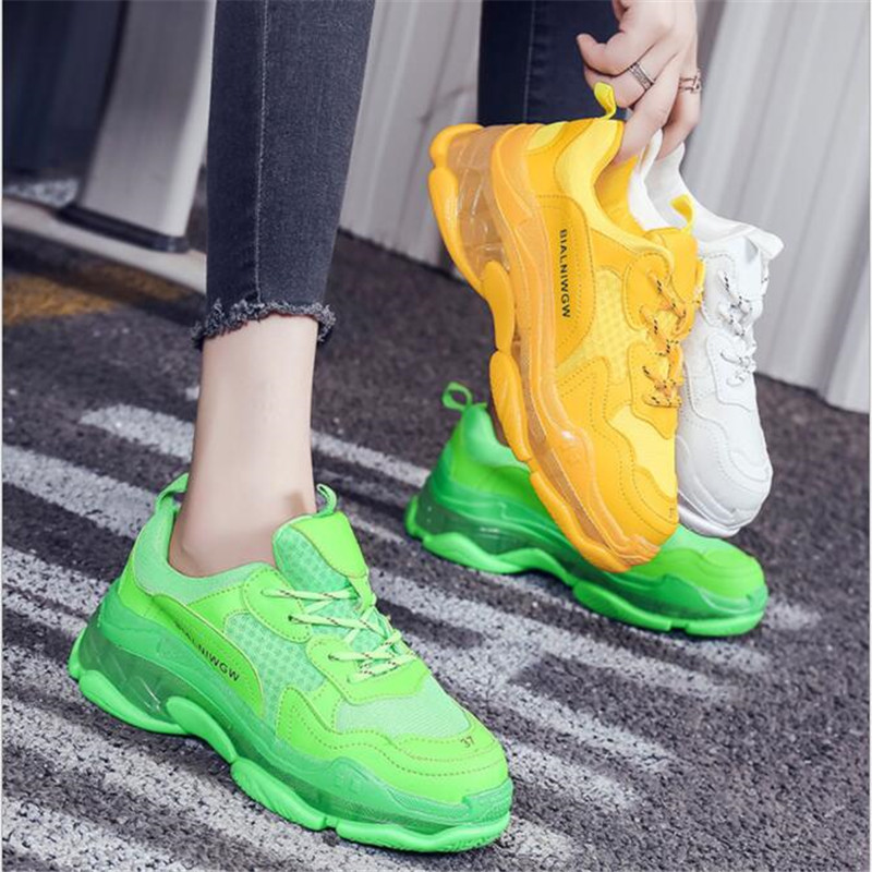 2019 Green Hip Hop Sneakers Women Trendy Chunky Dad Shoes Woman Fashion Thick Sole Ladies Platform Shoe Laces Chaussures Femme