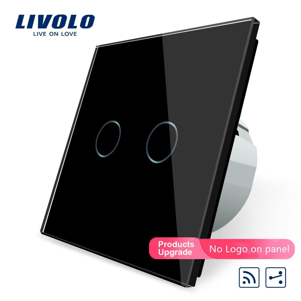 Norme ue Livolo, commutateur à distance tactile, panneau en verre cristal blanc, 2 bandes 2 voies, ca 220 ~ 250V + indicateur LED, VL-C702SR-1/2/5
