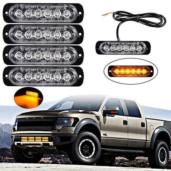 Car Flexible Warning Strobe Work  Waterproof Strobe Light Led Flashing Light Car Ultra Slim 6 LED Car Strobe Flash Lights
